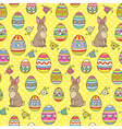 easter pattern yellow bunny vector image