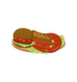 typical picnic meal on a plate cartoon vector image