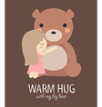 warm hug with big bear vector image