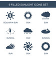 9 sunlight icons vector image vector image
