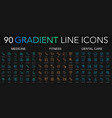 90 trendy gradient style thin line icons set of vector image vector image