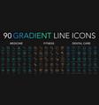 90 trendy gradient style thin line icons set vector image