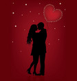 a couple in love on a bright red vector image