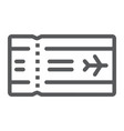 airport ticket line icon travel and tourism vector image vector image
