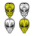 alien heads set objects or elements vector image vector image