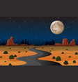 arizona desert road at night vector image