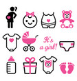 bagirl shower icons set pregnant woman vector image