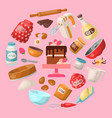 baking cartoon tools and food seamless pattern vector image vector image