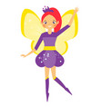 beautiful flying fairy with yellow wings elf vector image vector image