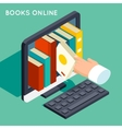 Books online library isometric 3d flat concept vector image