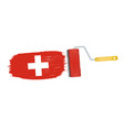 brush stroke with switzerland national flag vector image