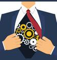 businessman show cogwheel mechanism on his chest vector image vector image