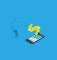 businessman use fishing rod to get dollar symbol vector image vector image