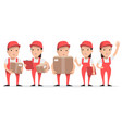 character delivery man in red uniform with cardboa vector image vector image