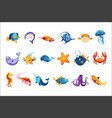 colorful sea animals set vector image