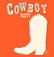 cowboy boot hand drawn graphic vector image vector image