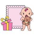 cute little bagirl with bear teddy vector image vector image