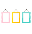 Cute pink mint green and gold picture frame icons vector image