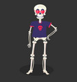day dead skeleton in t-shirt and glasses vector image