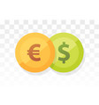 euro vs american dollar - currency pair on vector image vector image