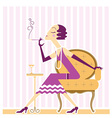 flapper girl with cigaret vector image vector image