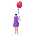 girl standing alone with pink balloon in hands vector image vector image