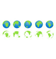 globe earth with map world icons planets vector image vector image