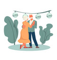 grandmother and grandfather dancing in park happy vector image