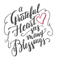 Grateful heart sees many blessings calligraphy vector image vector image