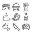 grill and barbecue icons set line style vector image vector image
