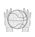 hands and ball for playing basketball low poly vector image vector image