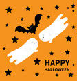 happy halloween two flying bat ghost spirit black vector image vector image