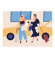happy women going on vacation with baggage near vector image