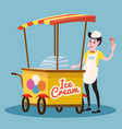 ice cream seller cart vector image vector image