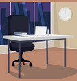 interior of evening workplace with view of city vector image vector image