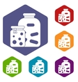 Jars with pickled vegetables and jam icons set vector image vector image