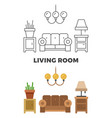 living room concept - flat and line style living vector image vector image