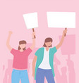manifestation protest activists young women vector image