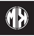 mk logo initial with circle line cut design vector image vector image