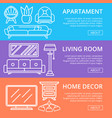 modern apartment decoration linear posters vector image vector image