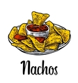 Nachos- mexican traditional food vintage vector image vector image