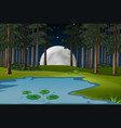 nature scene with fullmoon and pond in forest vector image vector image