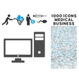Personal Computer Icon with 1000 Medical Business vector image vector image