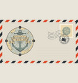 postal envelope with stamp on the theme of travel vector image