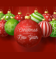 red christmas and new year square banner vector image