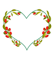 Ripe Olives Leaves and Fruits in Heart Shape Frame vector image vector image