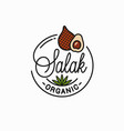 salak fruit logo round linear snake slice vector image