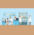 scientists conducting research in a lab interior vector image vector image