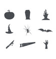 set halloween silhouette isons vintage hand vector image vector image