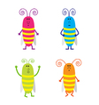 Set of cute cartoon cockroach vector image vector image